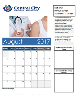 Monthly Calendar Image for Health Awareness