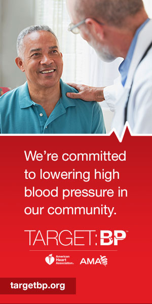 Image of Doctor and Patient with text: We're committed to lowering high blood pressure in our community