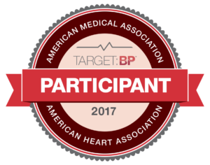 Image on side bar of about us - American Medical Association - Target BP Participant award seal