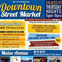 Button image for Baldwin Park Downtown Street Market that Central City is participating in