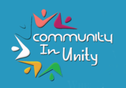 Image with words on blue background and colorful accents surrounding Community in Unity words for the Event with Central City Community Mobile Health Clinic