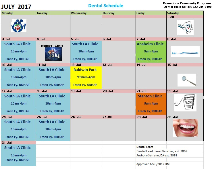 Central City Calendar for Dental Care in the community