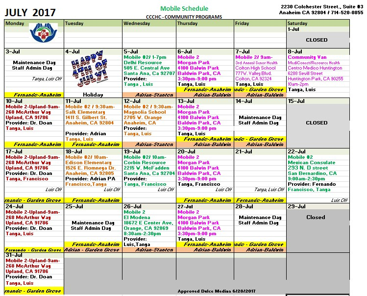 Central City Community Health Mobile Calendar for July - Click on image to download PDF
