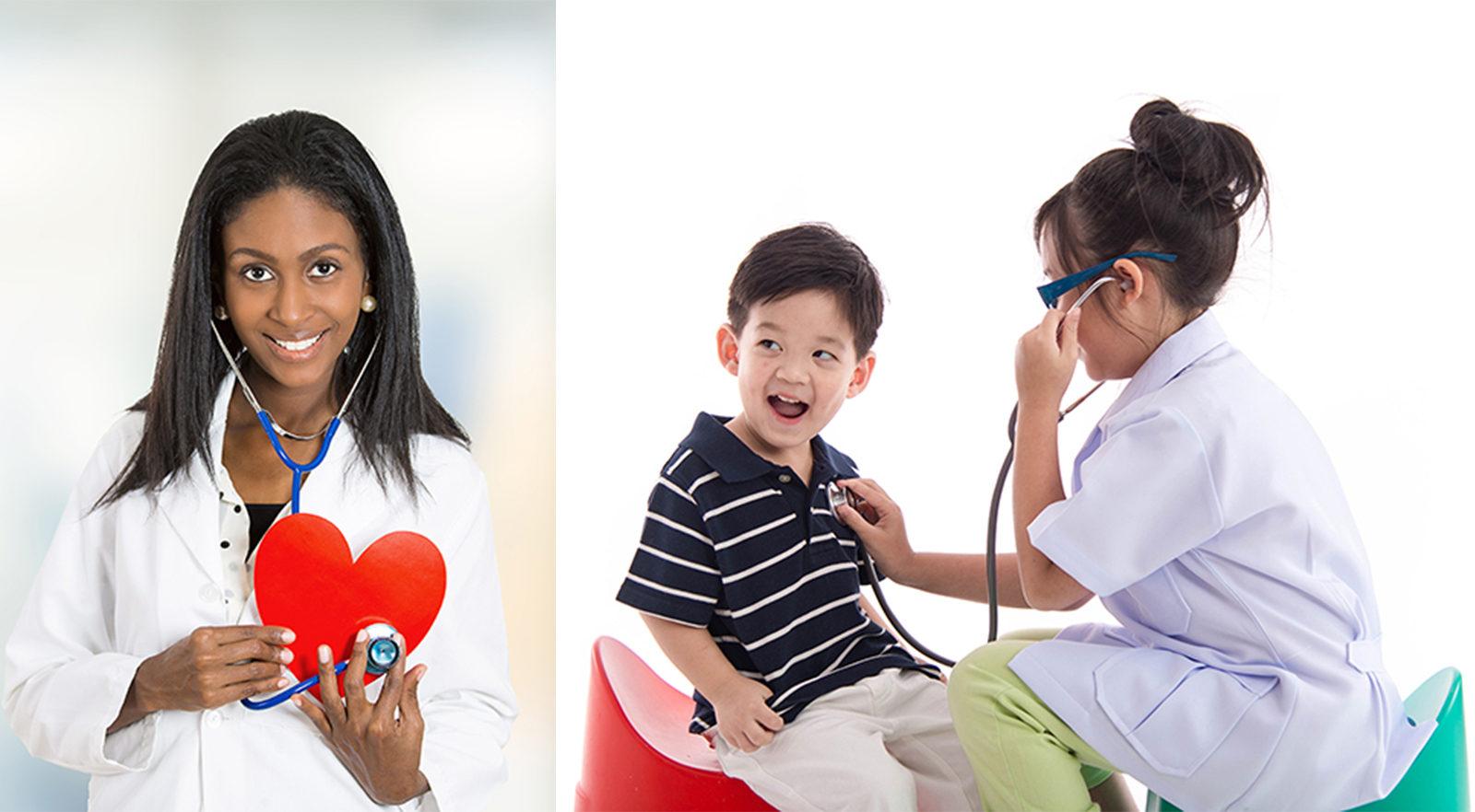 imagen de un doctor agradable sosteniendo un corazón rojo y niños jugando al doctor para pediatría en CCCHC