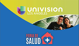 Image with Univision Los Angeles words with Logo and Feria De Salud with logo