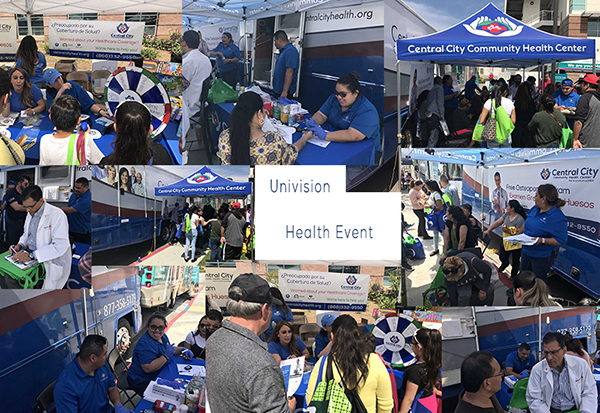 Image of staff and visitors to Central City Community Health booth at the Univision event - Univision 2018