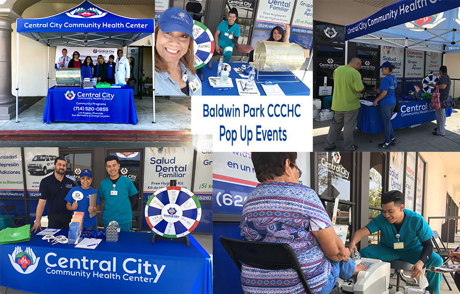 Collage of images at Baldwin Park Clinic Pop up event every Wednesday