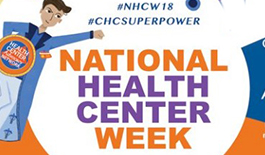 Button Image - #NHCW18 #CHCSUPERPOWER National Health Center Week with a super hero cartoon