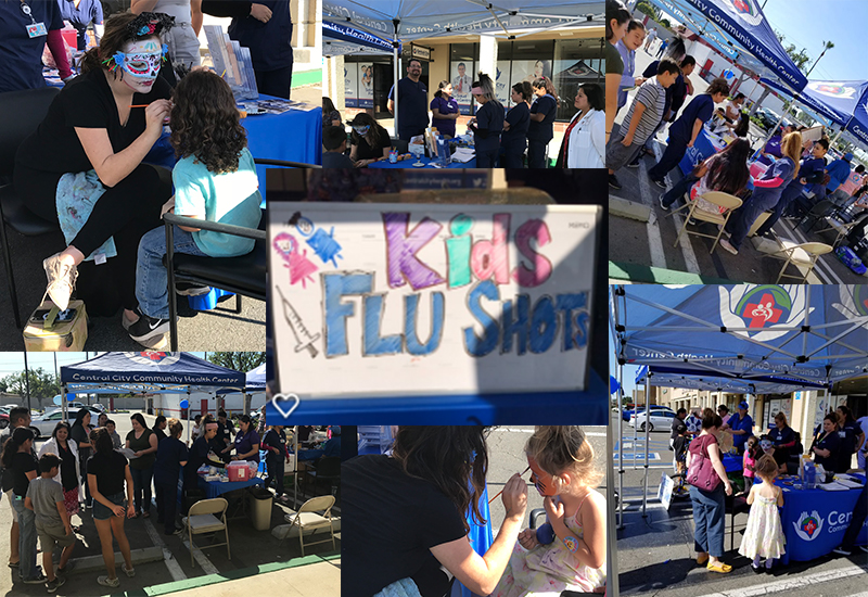images from the flu shot event, face painting and free flu shots