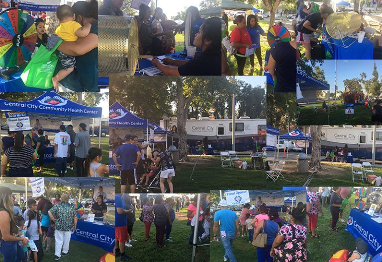 Colage of images showing our event at Baldwin Park showing visitors and health center staff