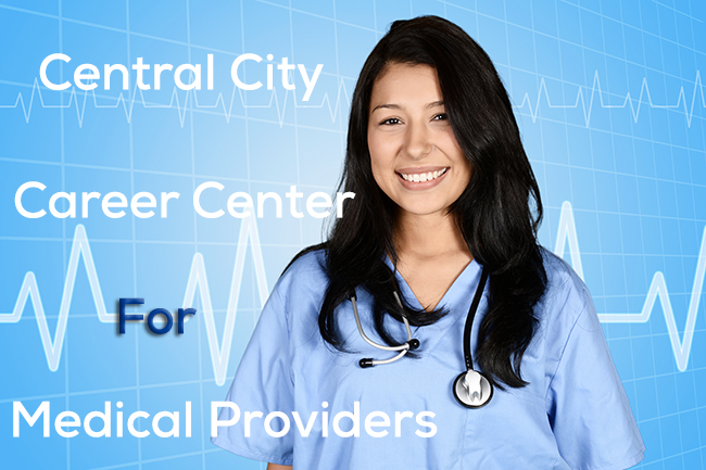 Image of girl in Medical scrubs and stethoscope says Central City Career Center for Medical Providers for our Career Center at Central City Community Health - to apply click the image