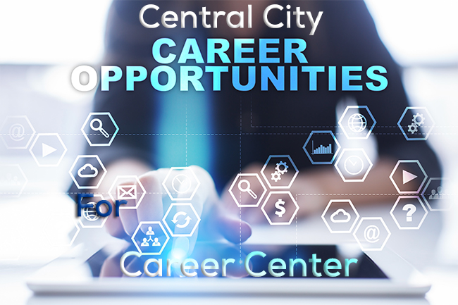 Image of hands with small symbols scattered around the image with the words Central City Career Opportunities Career Center for Central City Community Health Career Center - to apply click image