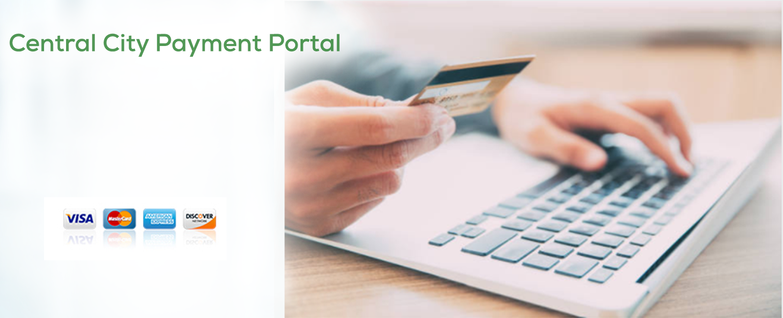 Images with hand holding a credit card at a computer for Payment Portal