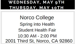 image advertising Norco College - Spring into Health Student Health Fair - 10:30 am - 2:00 pm