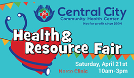 Image with central city community center logo advertising Health & Resource Fair at our Norco clinic