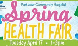 bright colored image and lettering - Spring Health Fair Tuesday April 17th 1-3 pm