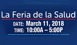 Telemundo Event flyer image in blue describing the event for March 11, 2017 10 am - 5 pm La Feria de la Salud - Telemundo 52 14th Annual health fair called La Feria de la Salud