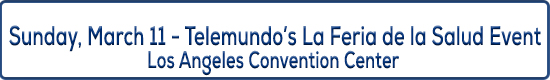 image title displaying Sunday March 11, Telemundo's La Feria de la Salud Event, Los Angeles Convention Center