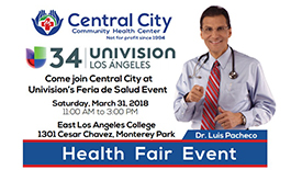 image with Dr Pacheco and Central City at Univision Los Angeles Health Fair Event