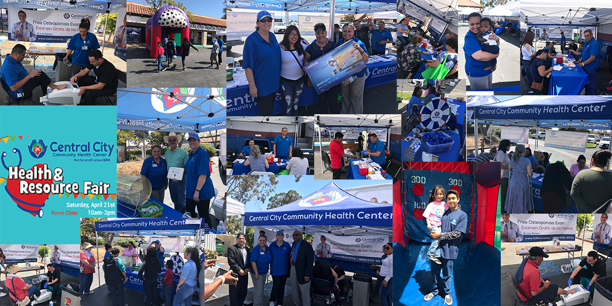A collage of images showing our fun event at our Norco Health Fair Event at Central City Norco Health Clinic