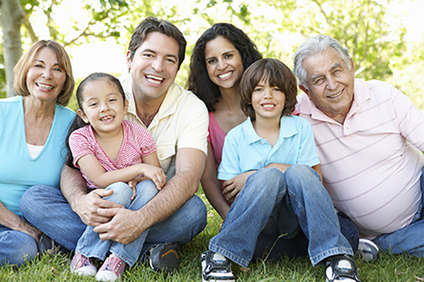 Image of multi generation Hispanic family for central city community health patient portal