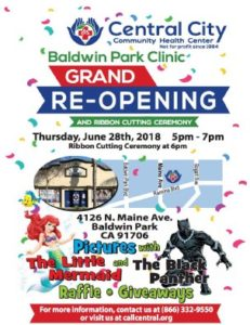 image that will open pdf flyer - Central City Community Health not for profit since 1994 - Baldwin Park Clinic Grand RE-Opening and Ribbon Cutting Ceremony