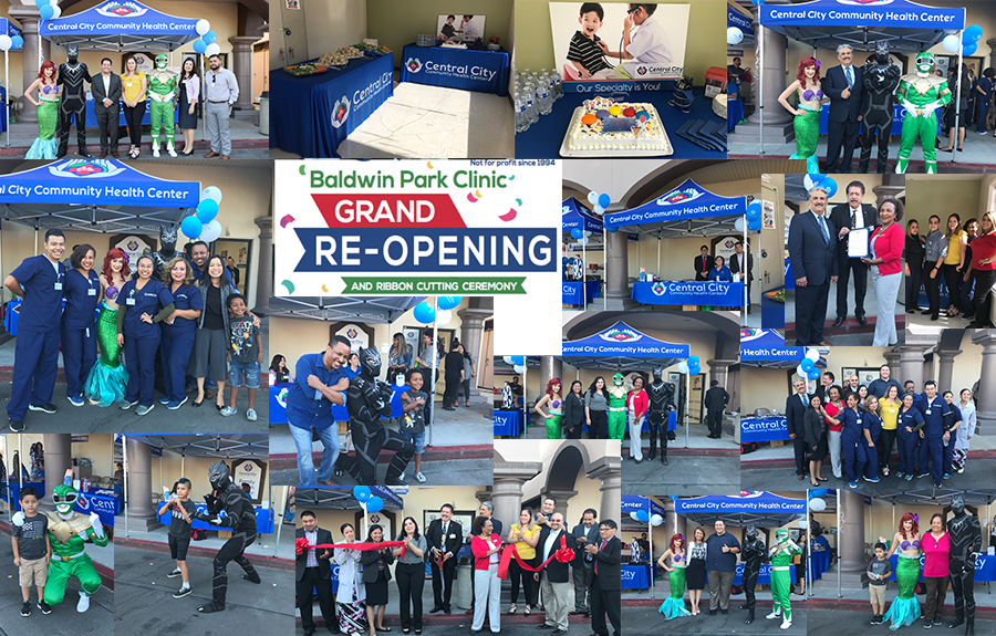 image collage of Central City staff and ribbon cutting ceremony for Central City Baldwin Park Grand Re-Opening