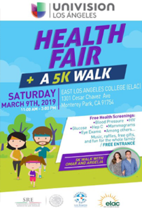 image to click on for pdf- image words advertising Univision Los angeles Health fair and 5K walk - Saturday March 9, 2019 from 11 am to 3 pm