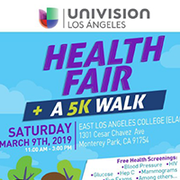 Univision Image Thumbnail with the heading Univision Los angeles Health Fair and 5K walk on Saturday March 9th 11 am to 3 pm to show on Central City Community Health Events page - Upcoming Events
