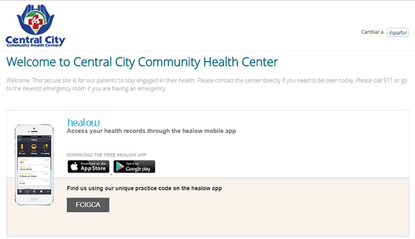 image of CCCHC Healow patient center welcome screen
