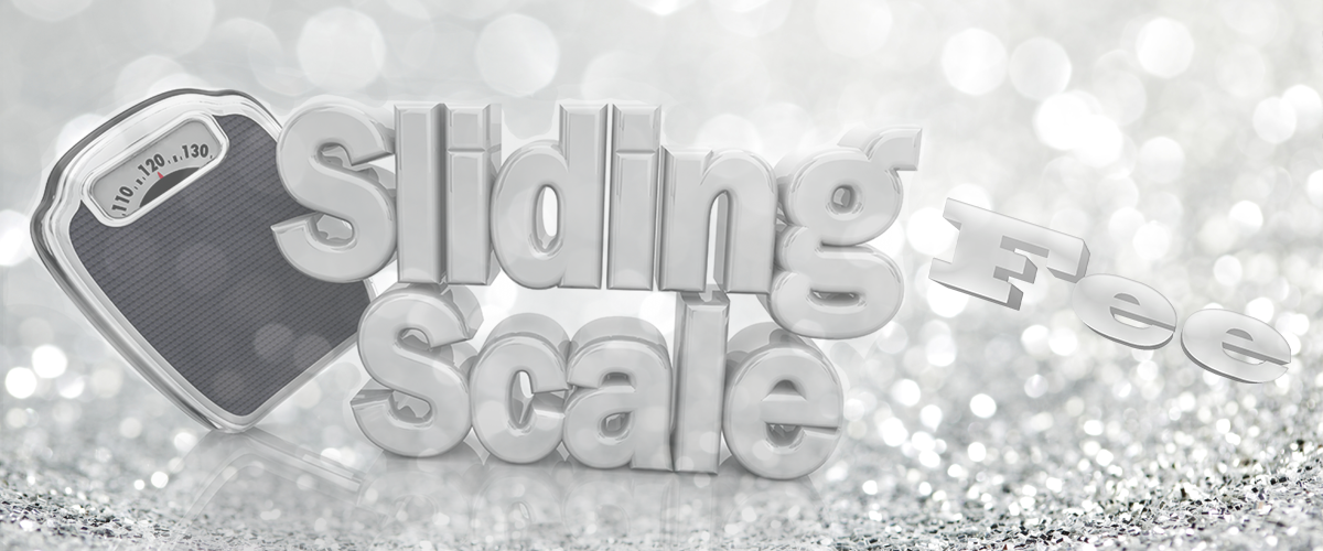 image of words Sliding Fees Scale with a scale on diamond silver background for Central City Community Health Center sliding scale description