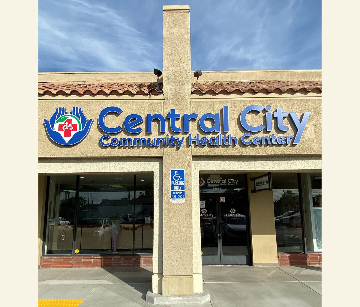 Central City Anaheim Clinic offering Dental Services, picture of front of building and signage Central City Community Health Center