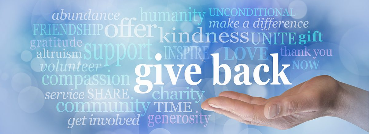 Image with different words for giving highlighted with the boldest letters saying give back, then muted words, abundance, unconditional, make a difference, unite, gift, thank you, NOW, charity, time, generosity, get involved, support, passion, inspire