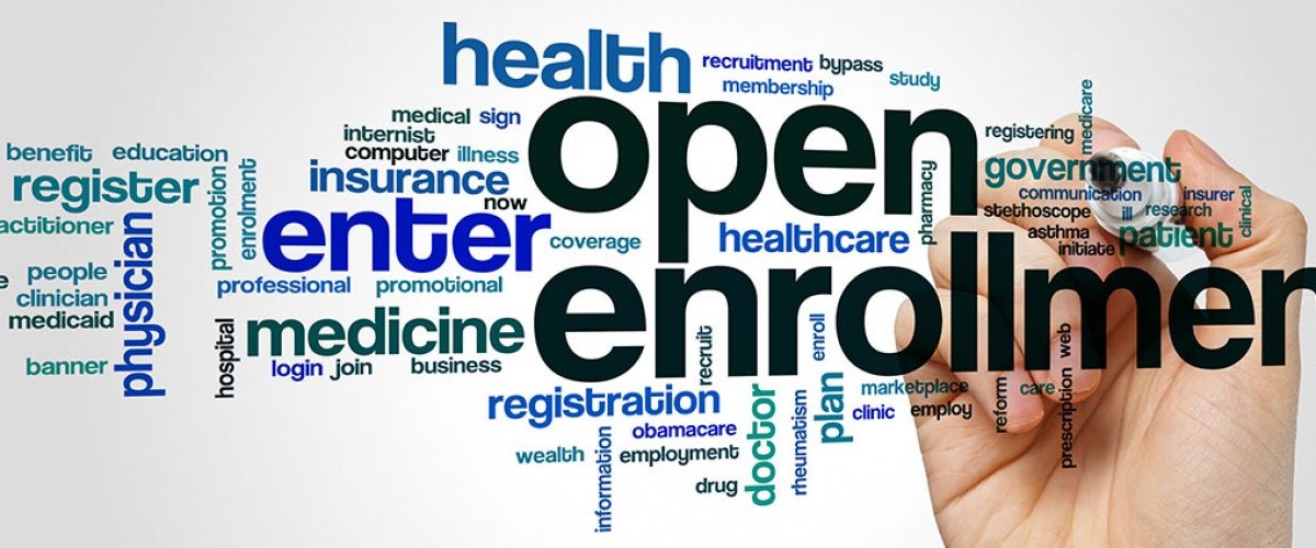 Open Enrollment image with wording all over advertising health care and open enrollment insurance for Central City Open Enrollment page